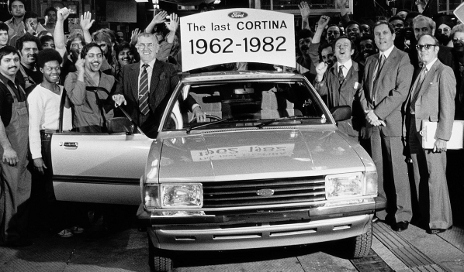 Black and white picture of the last Ford Cortina