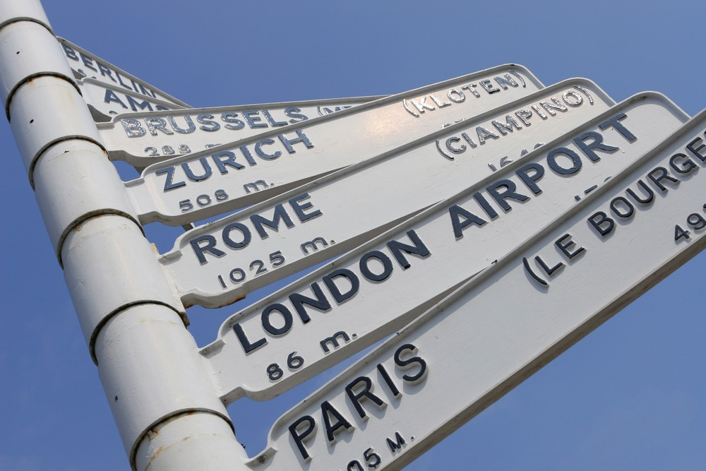 Sign post to different European destinations