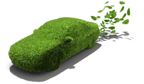 Green car emitting leaves