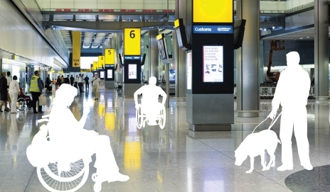 Airport with invisible disabled passengers in graphics