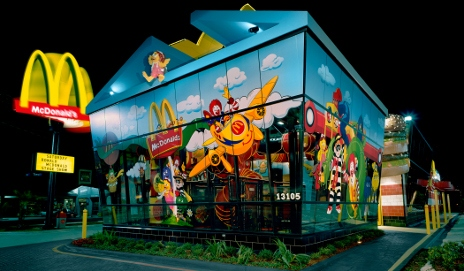 McDonalds restaurant at night