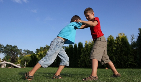 Kids fighting in field