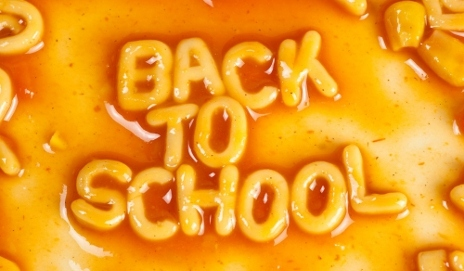 'Back to school' spelt out in spaghetti