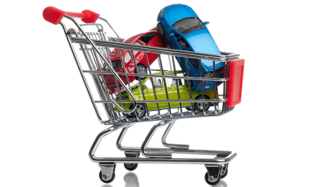 Supermarket trolley with cars