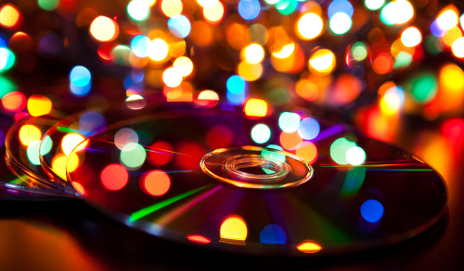 CD with coloured lights