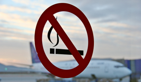 No Smoking sign on airport window