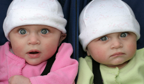 Identical twin girls make some funny faces