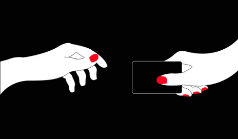 Illustration of two hands passing a bank card