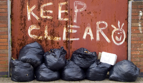 Piled up bin bags