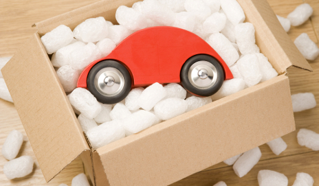 Toy car in box