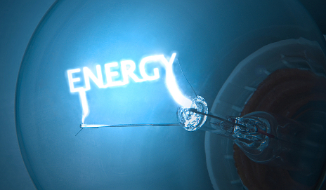 Word 'energy' in bulb for energy suppliers