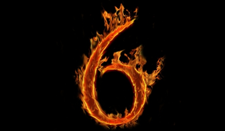 Number six in flames