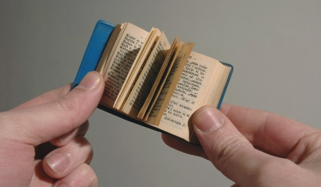 Hands holding a tiny book