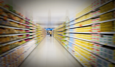 Supermarket aisle blurred