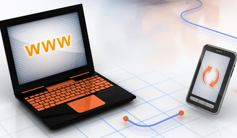 Laptop and mobile connected