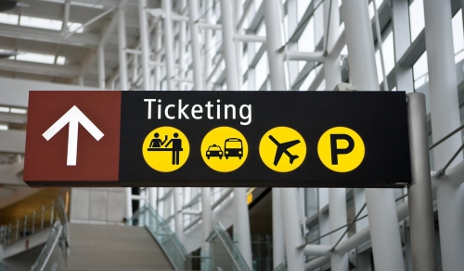 Ticketing sign in airport