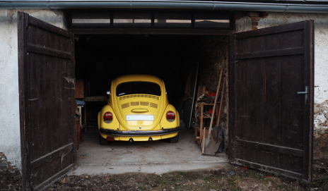 Vintage car in garage