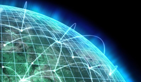 Lasers connecting over world globe