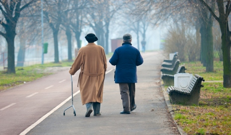 Older people walking away