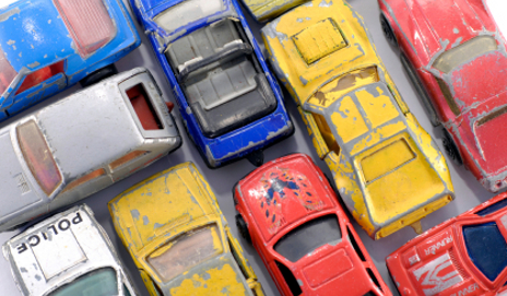 Scratched toy cars