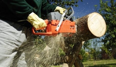 Man using a chainsaw