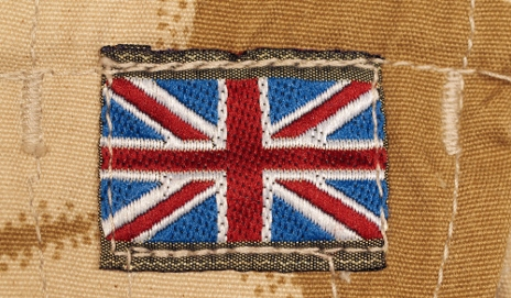 British flag on clothes badge
