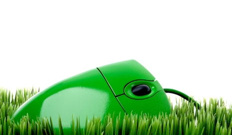 Green computer mouse in grass