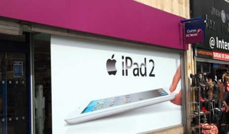 iPad poster in shop window