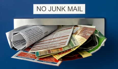 Junk mail in letter box