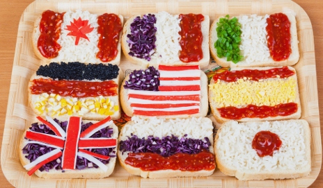 Sandwiches with country's flags