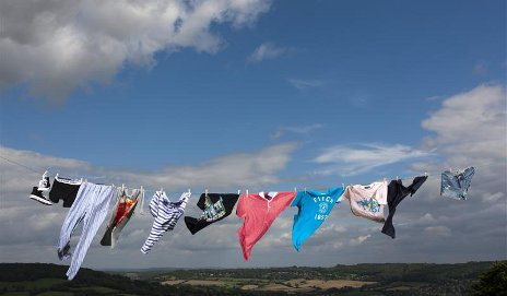 Clothes flying in wind
