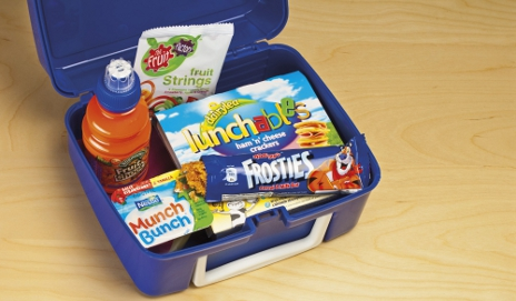 Lunch box full of processed children's food