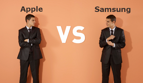 Apple vs Samsung with businessmen