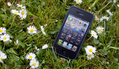Lost smartphone in grass