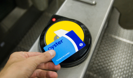 Person using an Oyster card