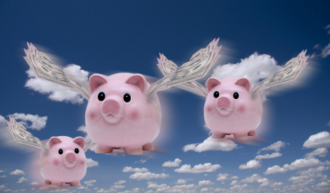 Piggy banks flying with wings