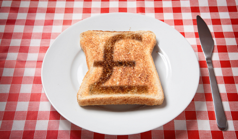 Toast with a pound sign burnt on it