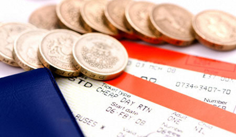 Train tickets and coins