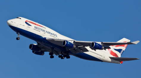 british airways plane in sky
