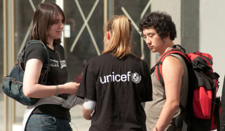 Unicef Fundraiser talking to people on street