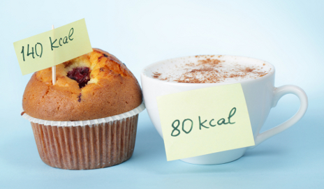 Muffin and coffee with calorie labels