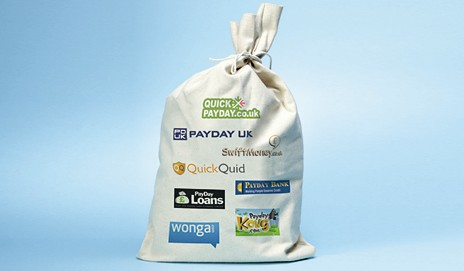 Sack with payday loan company names
