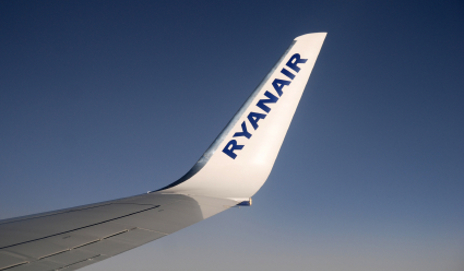 Tail of a Ryanair airplane