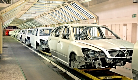 Rows of cars in manufacturing