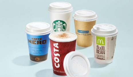 Collection of branded coffee cups