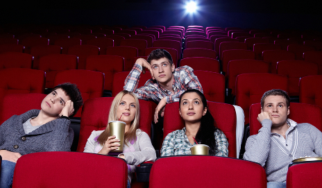Bored viewers in cinema