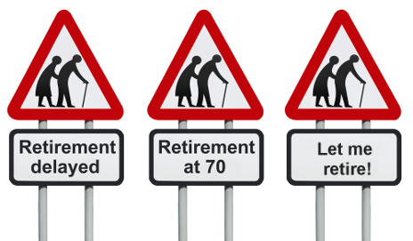 Road signs with elderly people saying 'retirement at 70'