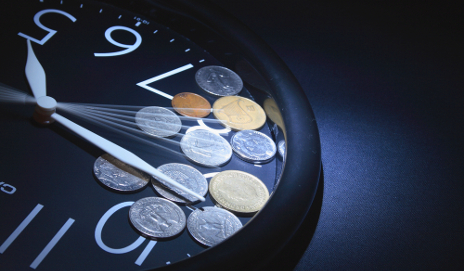 Coins in clock