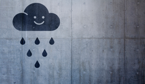 Rain cloud with a smiley face