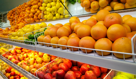 Fruit on shop shelf with no prices